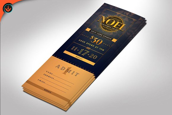 noel christmas gala ticket template example
