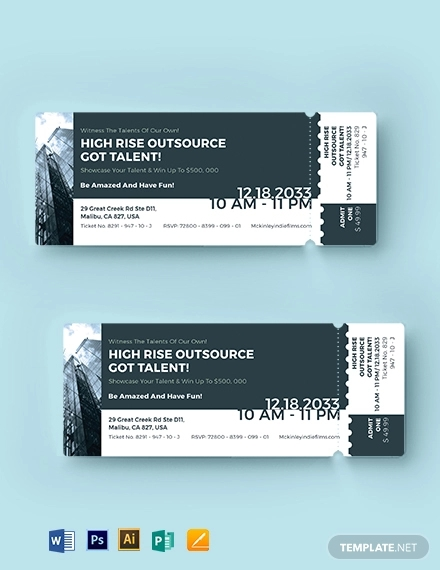 office event ticket template