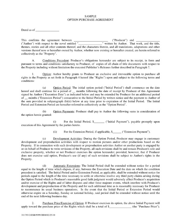 option purchase agreement contract template example