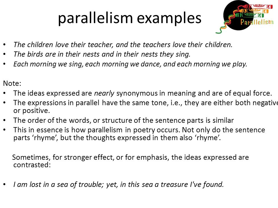 parallel examples with notes