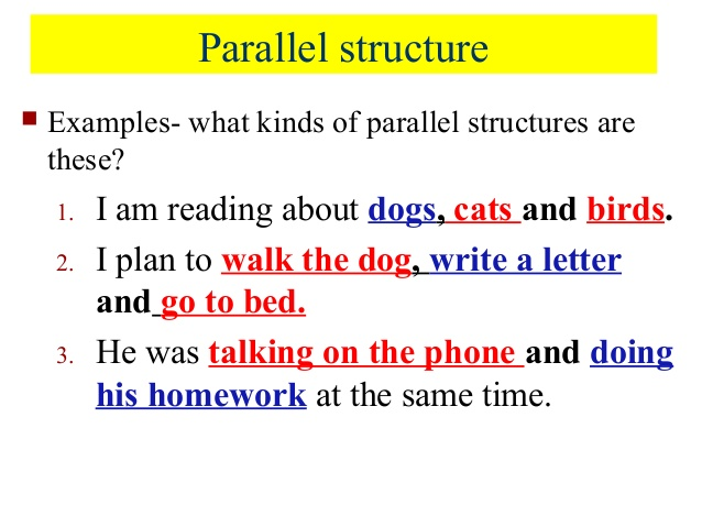 parallel structure examples