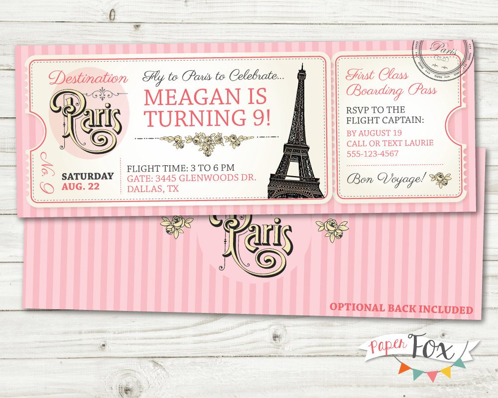 paris birthday boarding pass invitation ticket example