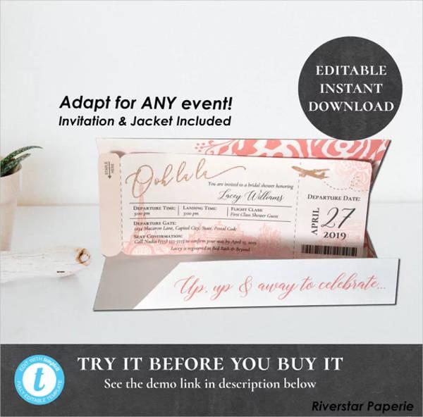 paris boarding pass invitation ticket design example