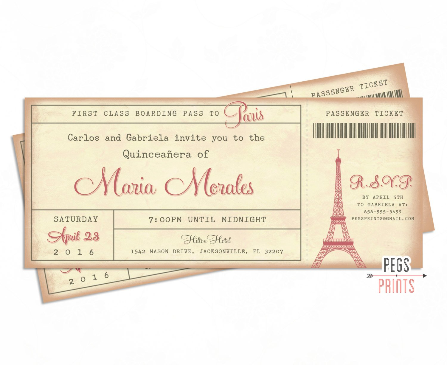 paris quinceanera boarding pass invitation ticket example