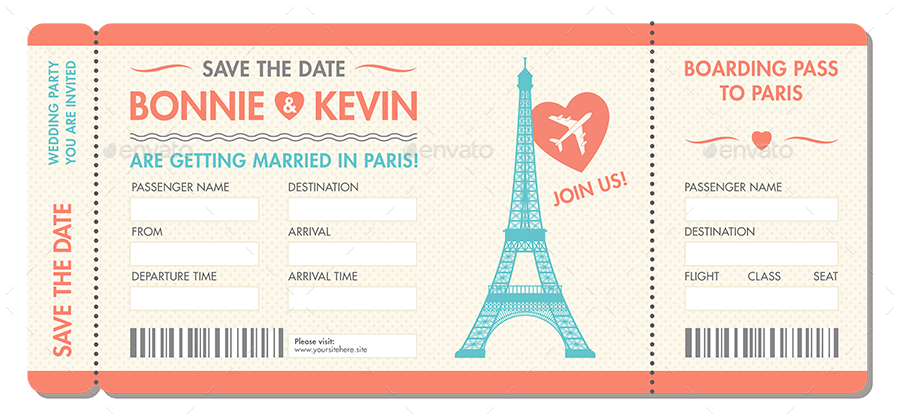 paris vintage wedding invitation ticket example