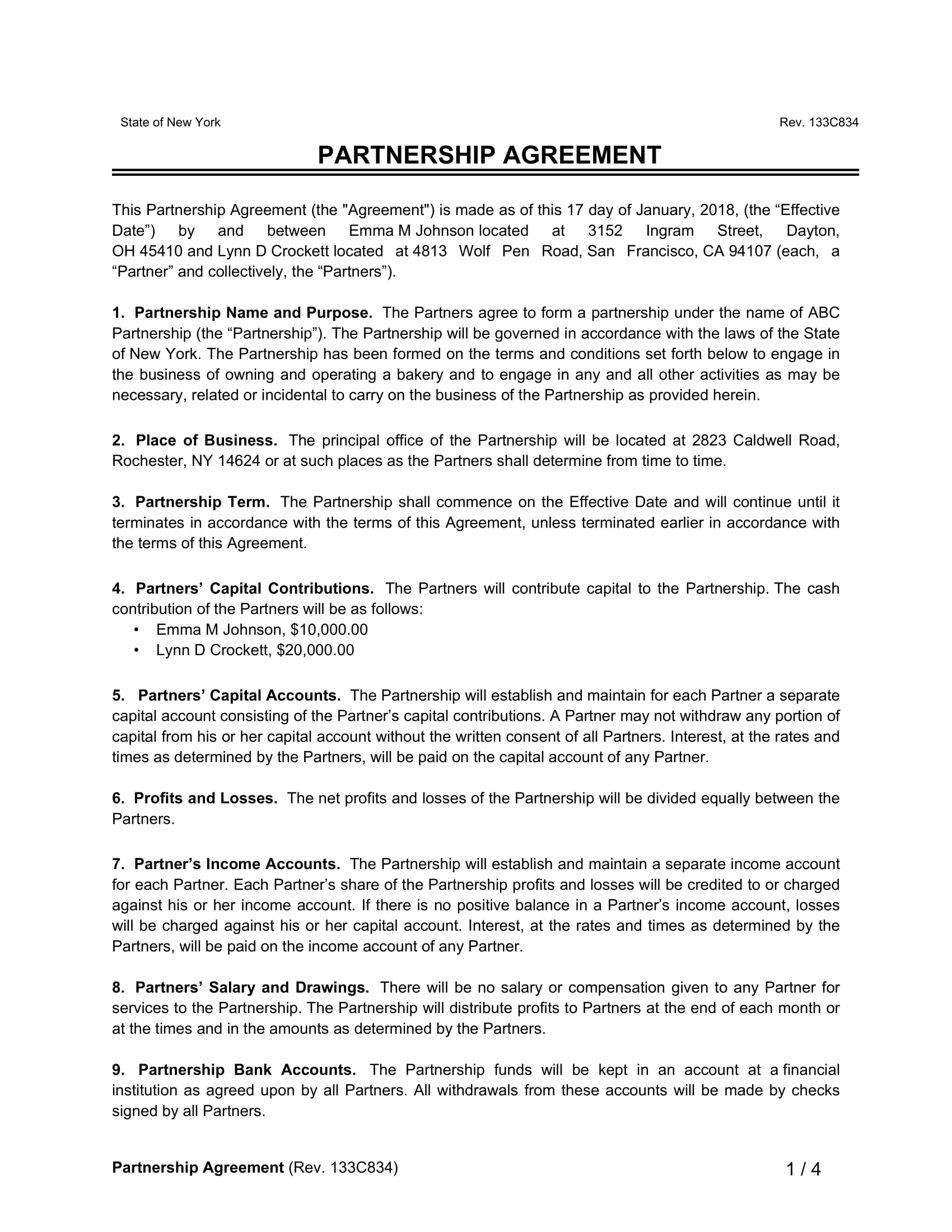 partnership agreement ny