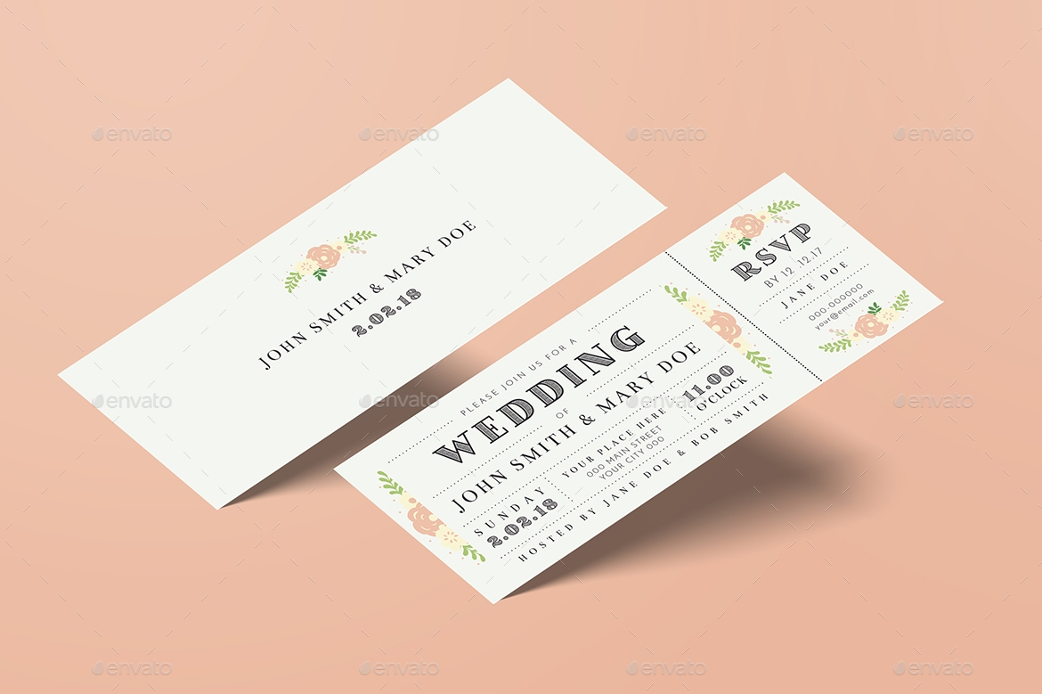 pastel flowers wedding invitation ticket example