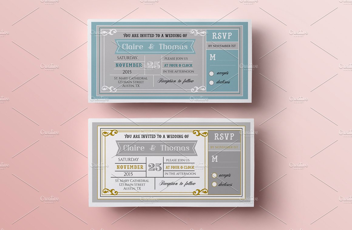 pastel wedding invitation ticket example