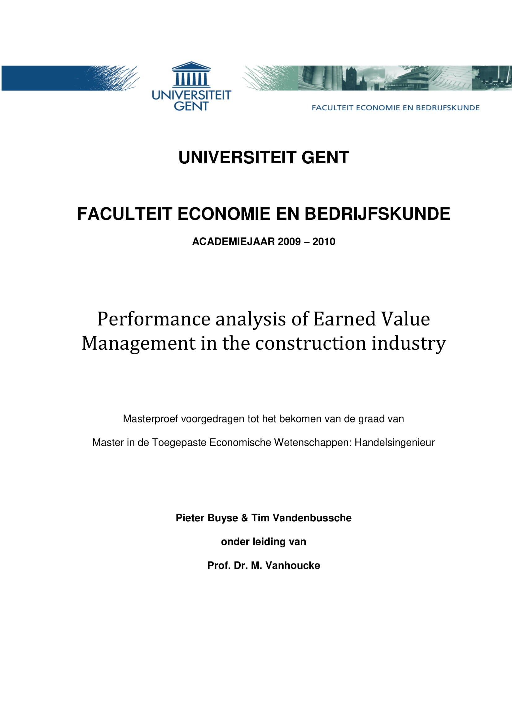performance analysis of earned value management in the construction industry example 01