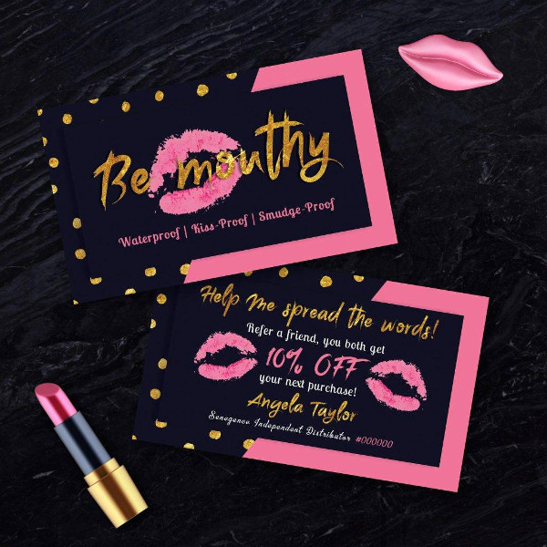 personalized dark pink gold style referral coupon example