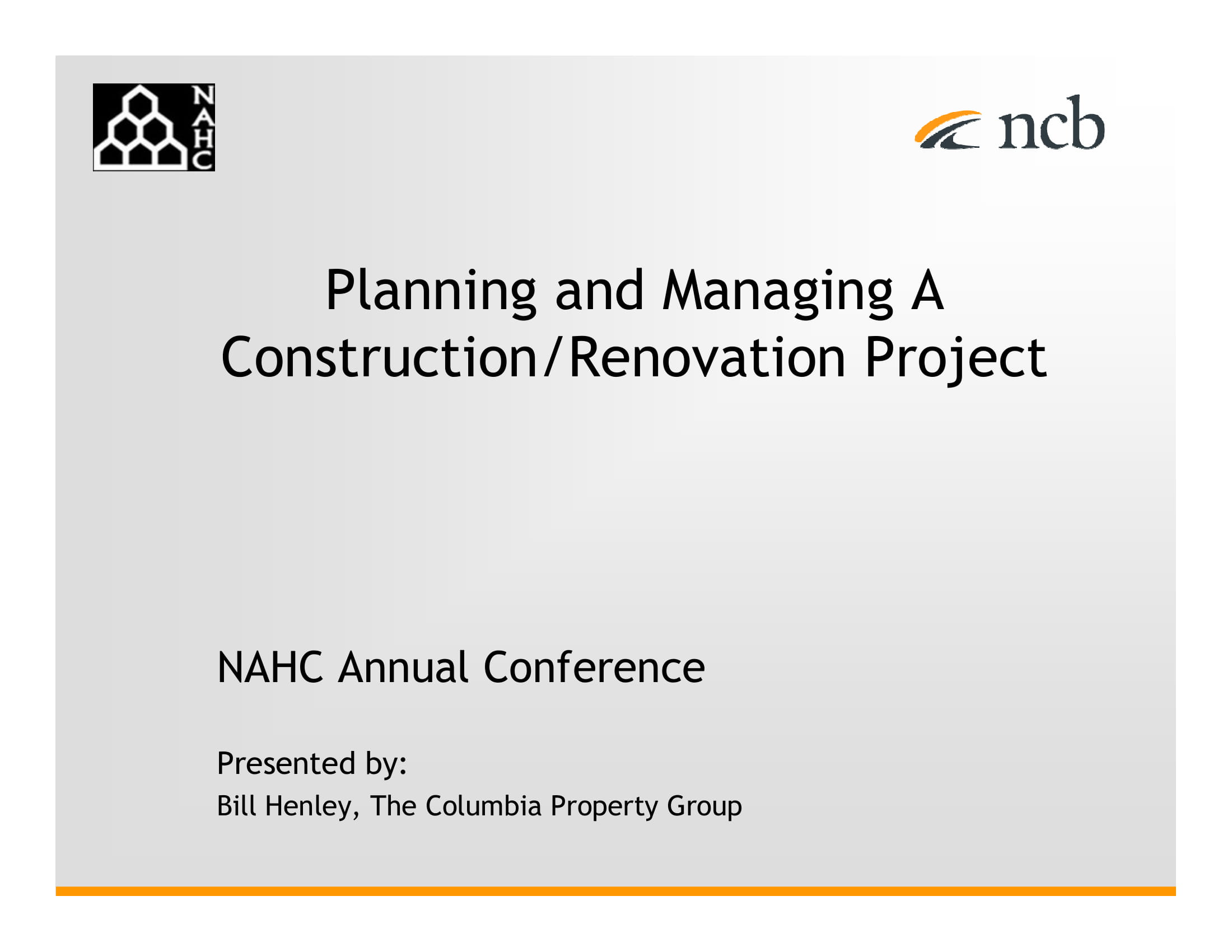planning and managing construction renovation project