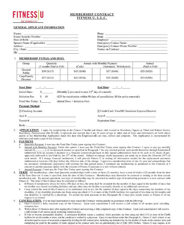 printable gym membership contract template1