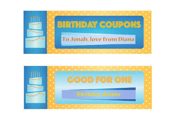 printable and editable birthday coupon example