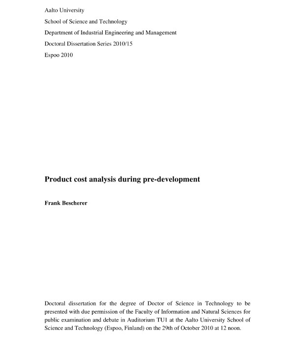 product cost analysis during pre development example1