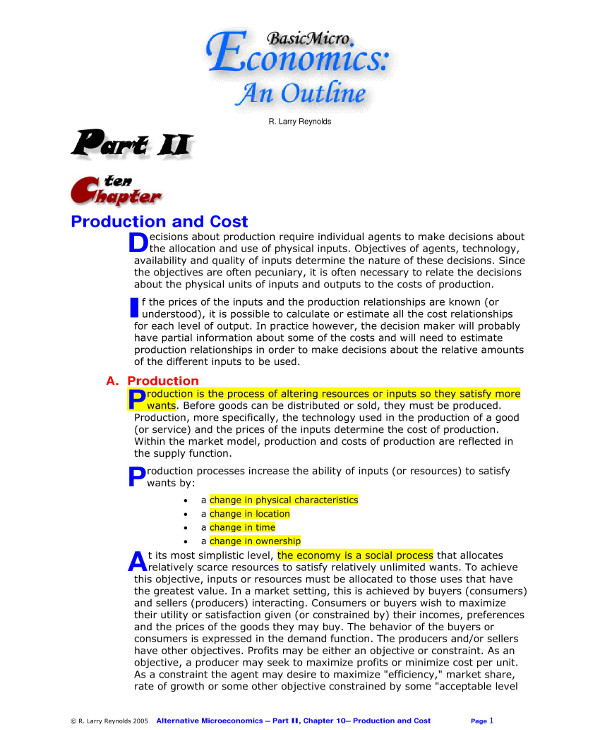 product cost analysis outline example1
