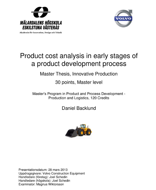 product cost analysis in product development example1