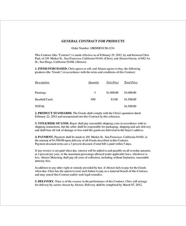 product general contract template example1