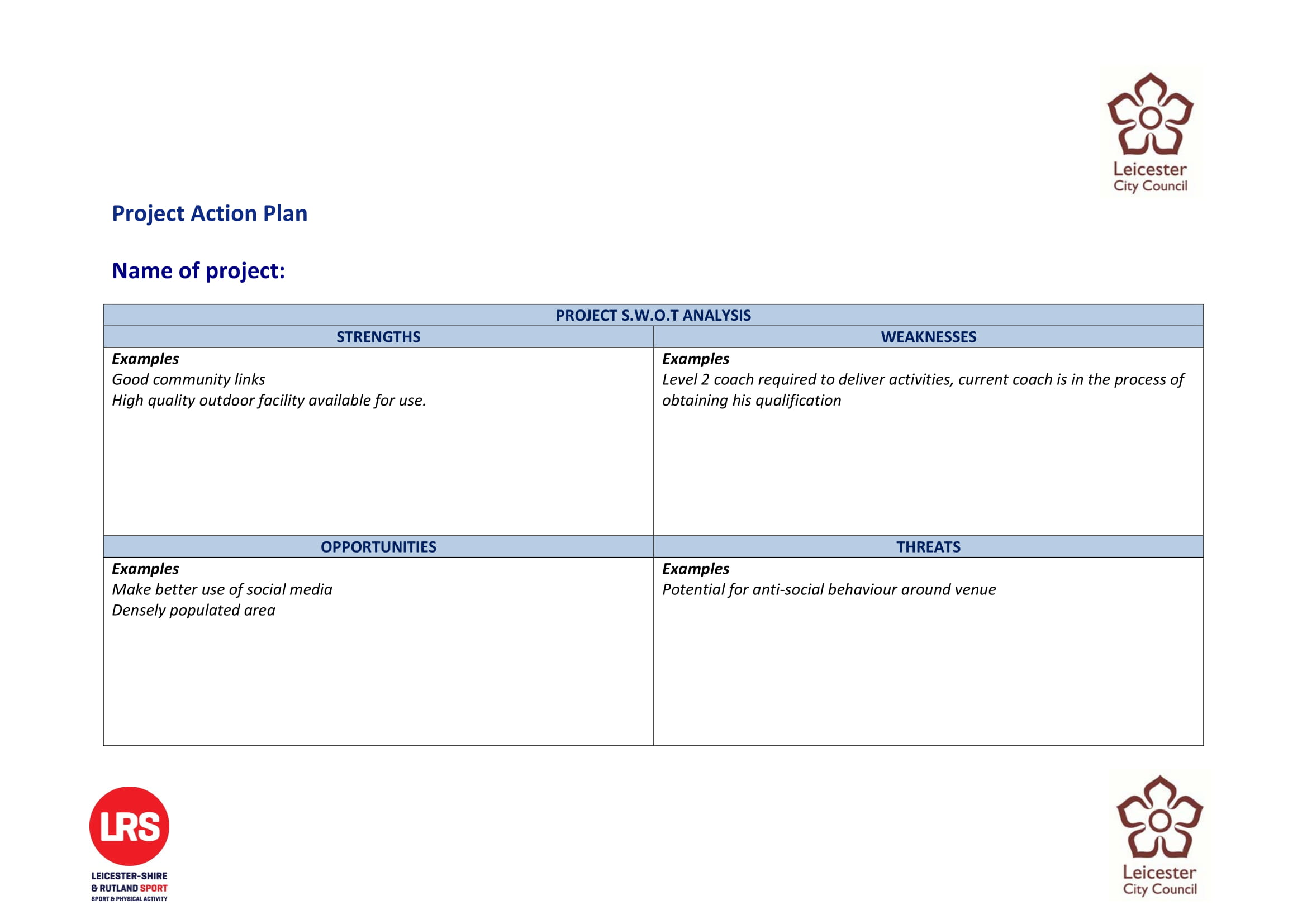 project action plan template example 1