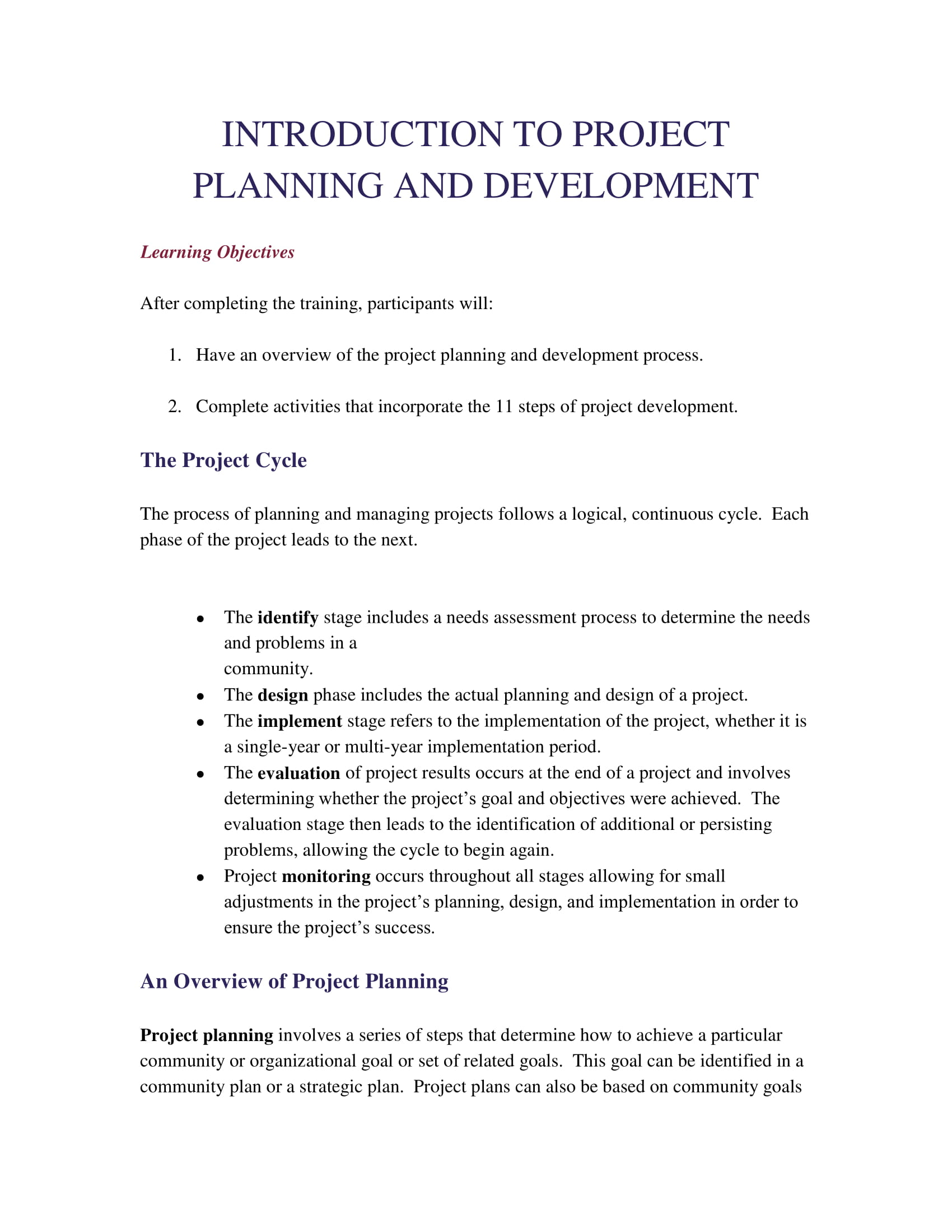 project action planning and development example 01