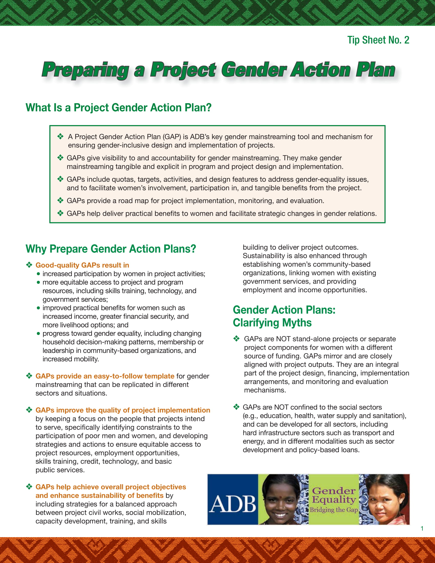 project gender action plan example 1