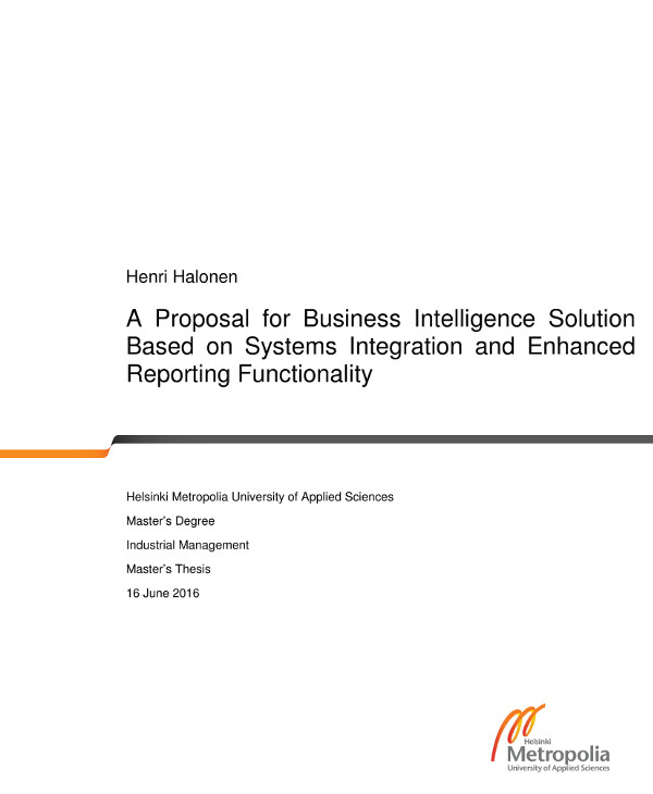 proposal for business intelligence solution based on systems integration and enhanced reporting functionality example
