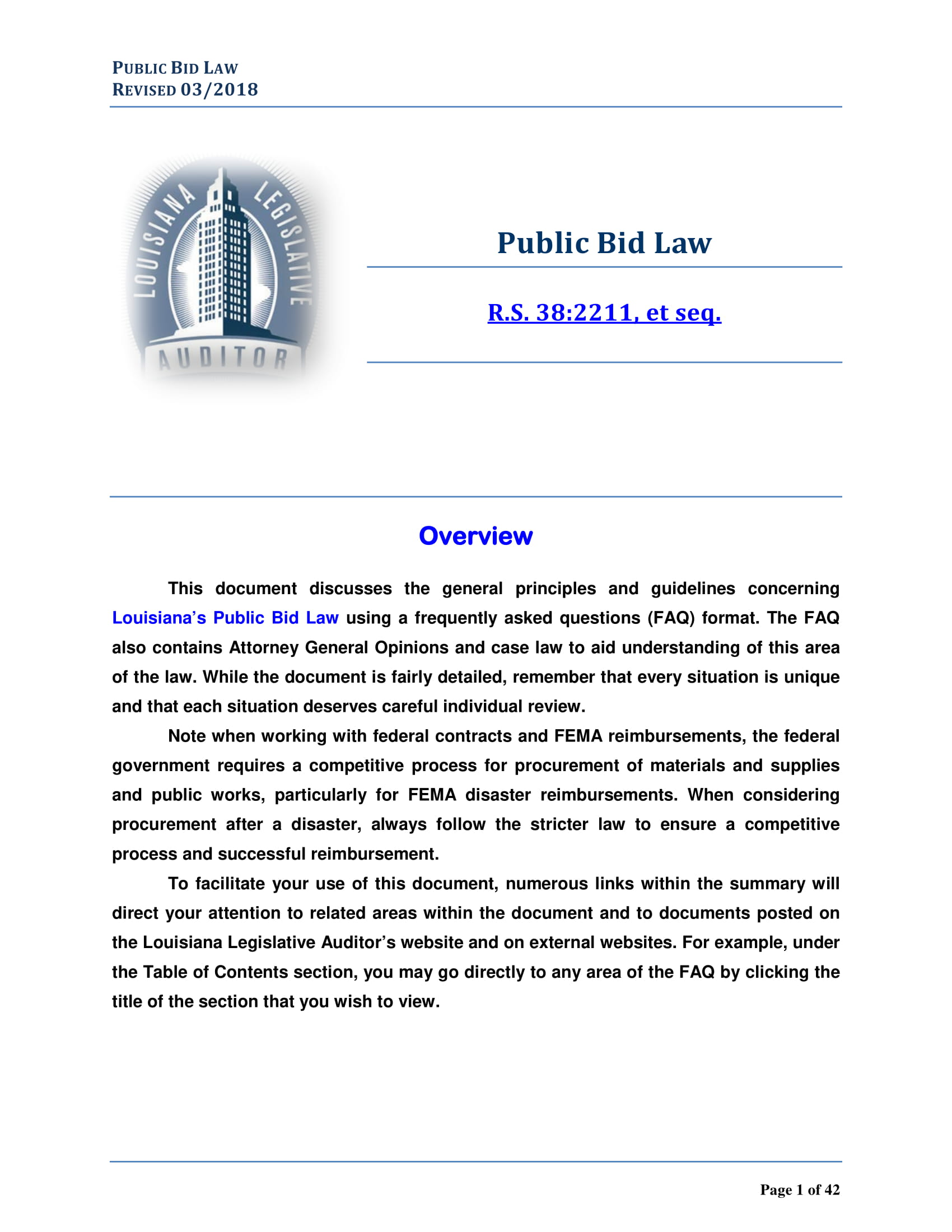 public bid law faq