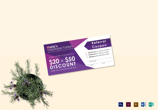 purple referral coupon template