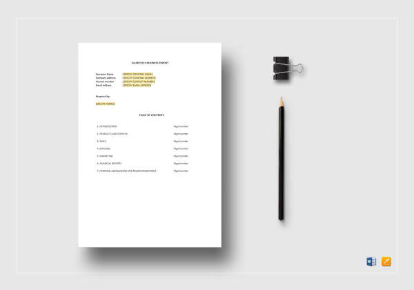 quarterly business report template