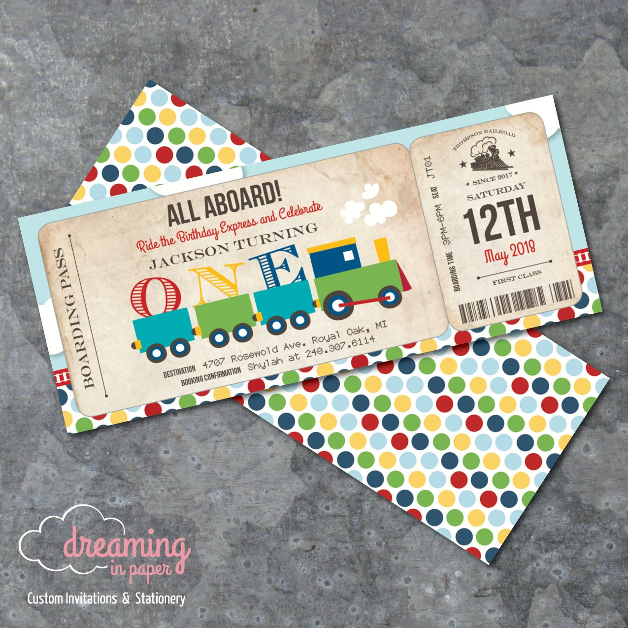 railroad birthday boarding pass ticket example
