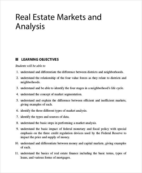 real estate market analysis example