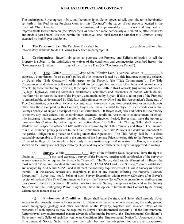 real estate purchase agreement contract template example