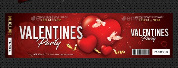 red and gold valentines party event ticket example