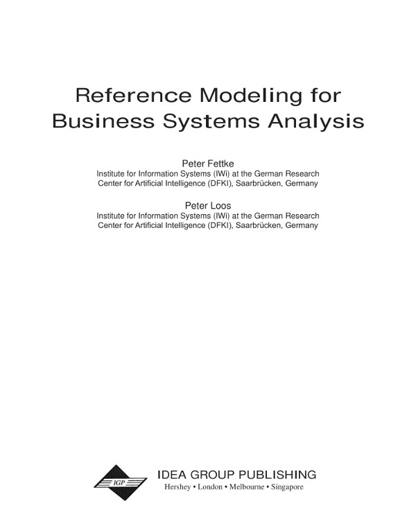 reference modeling for business systems analysis example