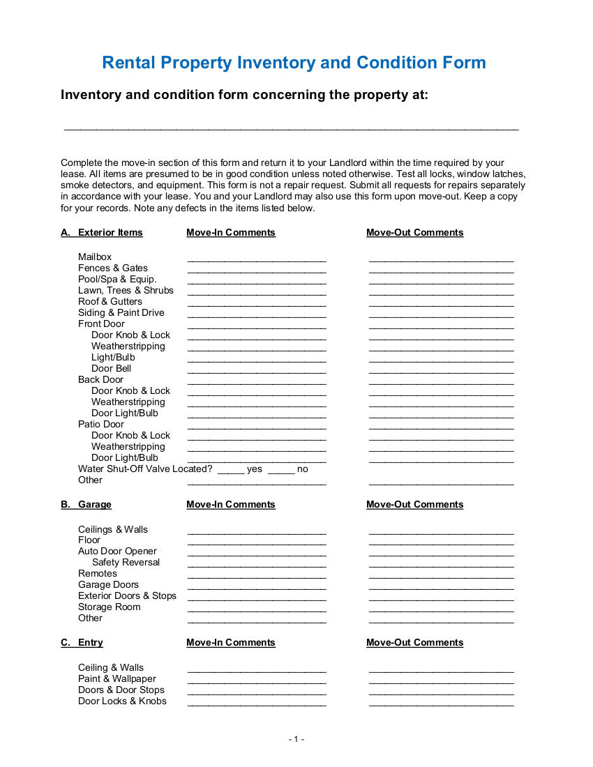 rental property landlord inventory and condition form