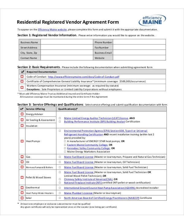 residential registered vendor agreement