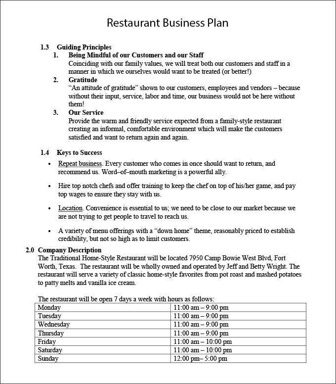 restaurant business project plan