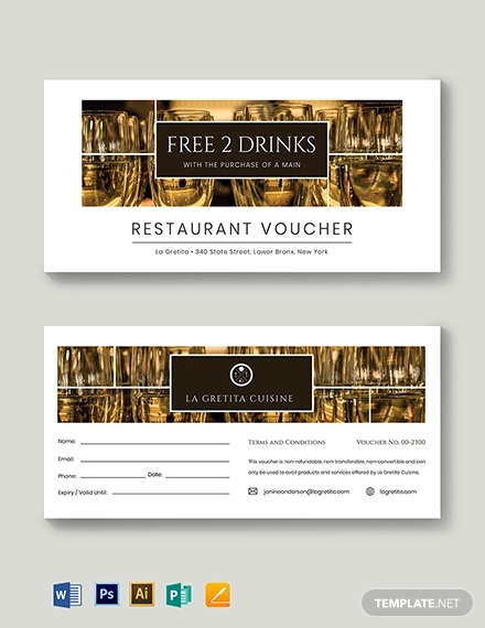 restaurant drink voucher template