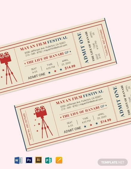 retro movie ticket template