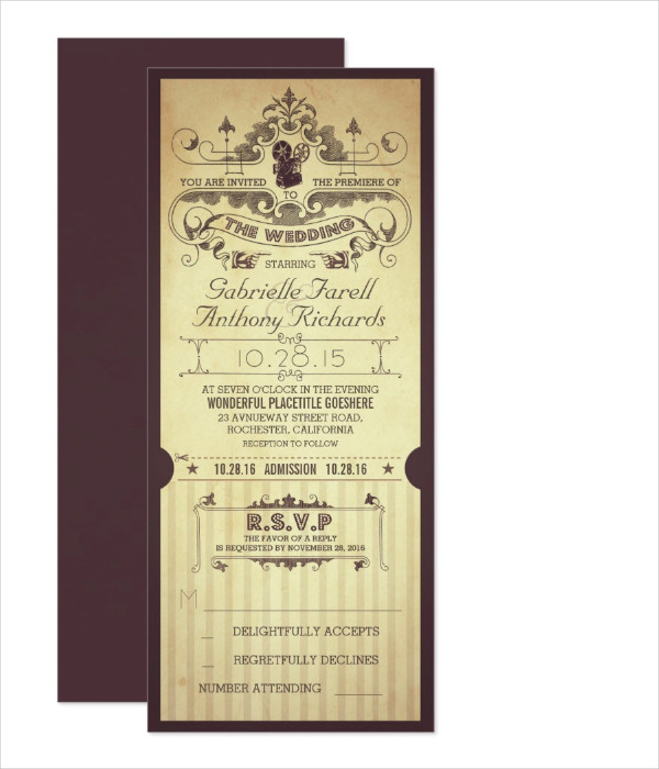 retro movie wedding boarding pass ticket1