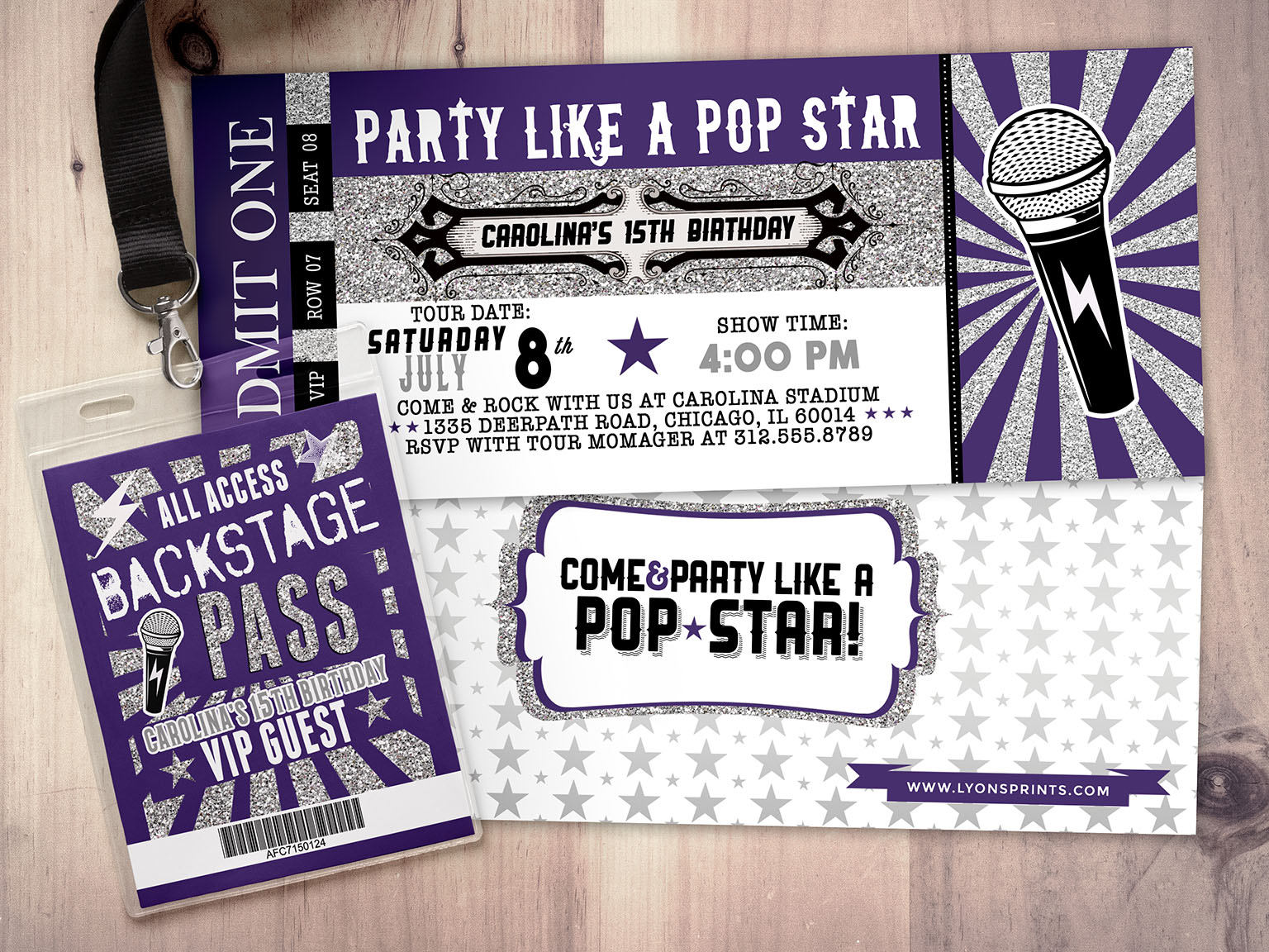retro pop star multipurpose party ticket example