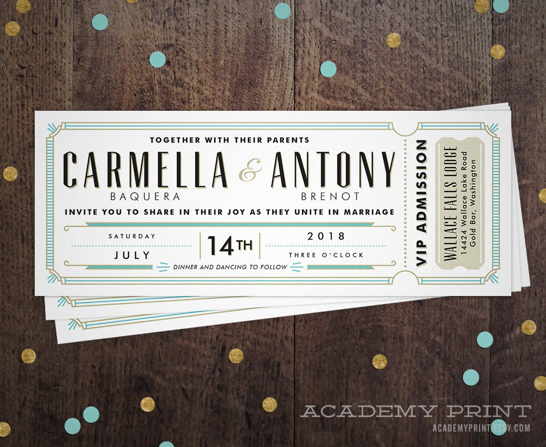 retro wedding invitation ticket example