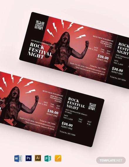 rock festival concert ticket template