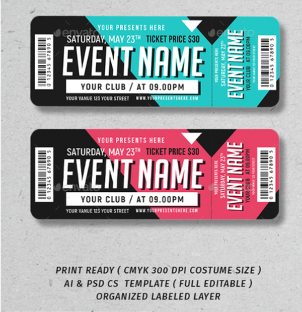 rounded corner event ticket example