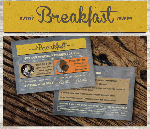 rustic breakfast coupon card example