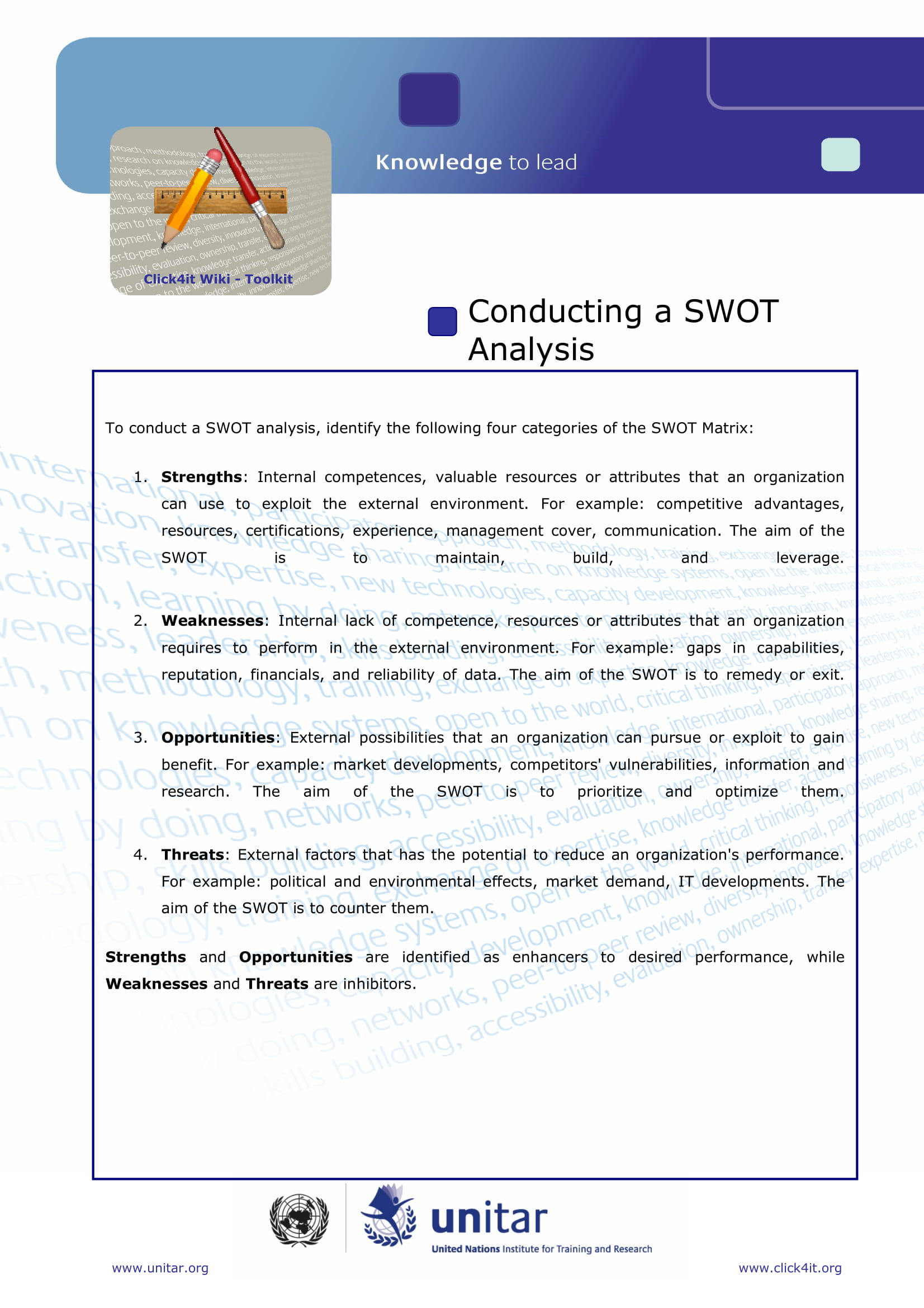 swot analysis toolkit with chart example 1