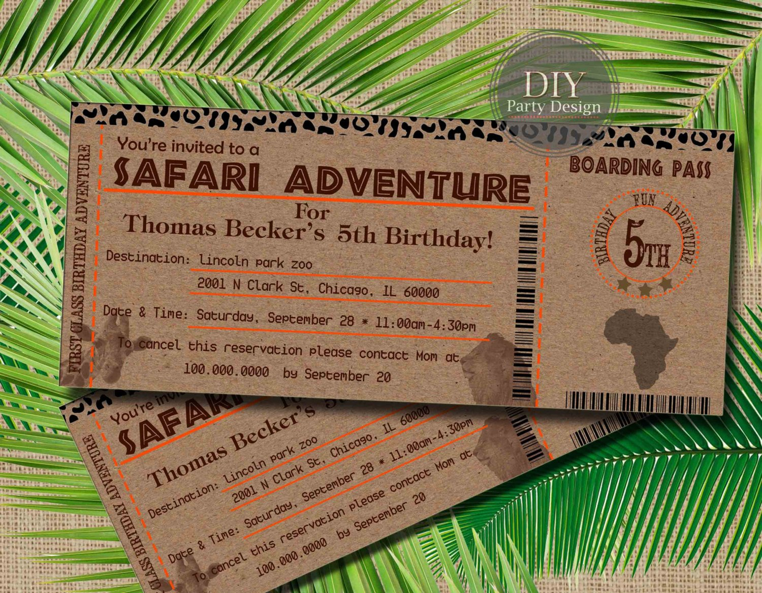 safari birthday boarding pass invitation ticket example