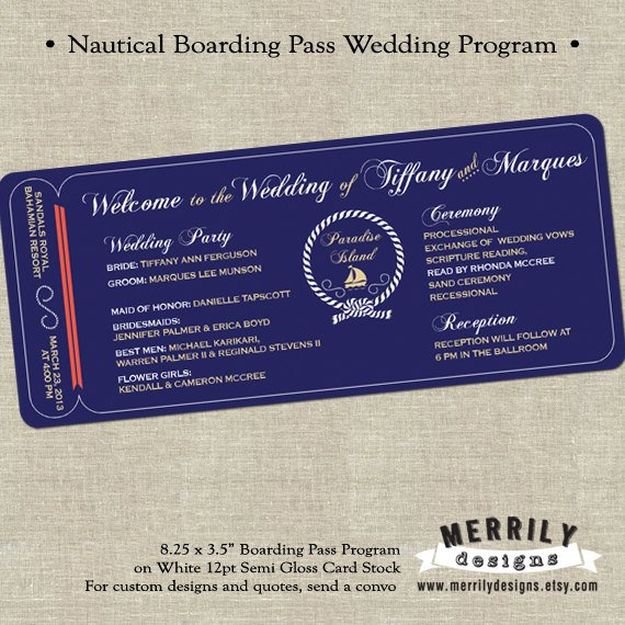 sailboat wedding boarding pass ticket example