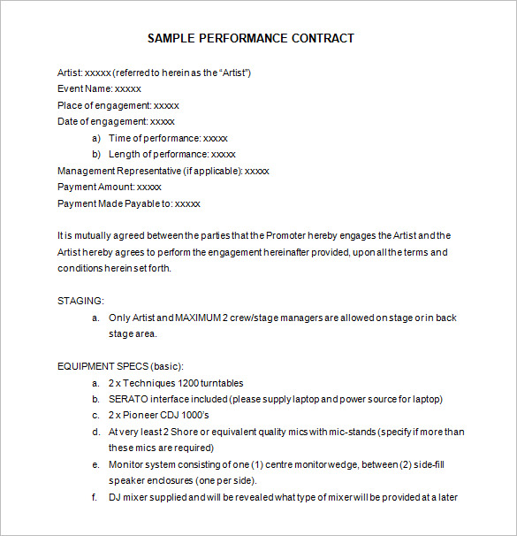 sample artist performance contract