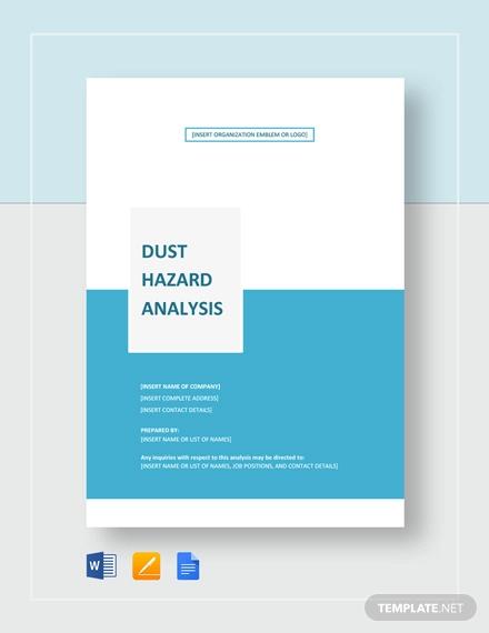 sample dust hazard analysis
