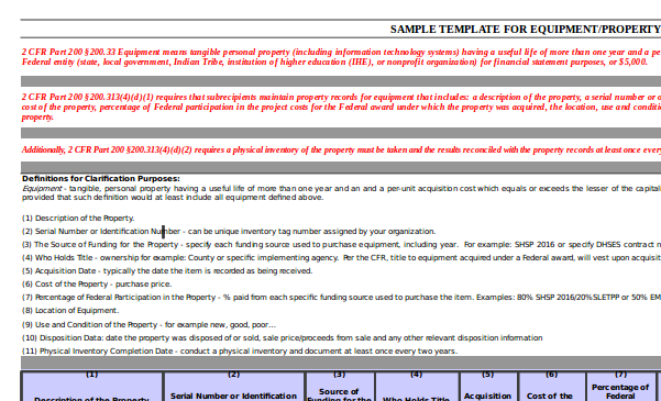 sample equipment property records template